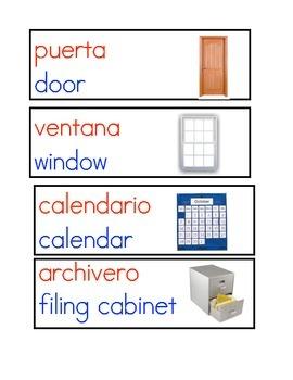 Bilingual Classroom Environment Labels, Dual Language