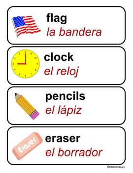Bilingual Classroom Labels (Spanish & English)
