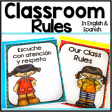 Bilingual Back to School Classroom Rules Bulletin Board Set in English & Spanish