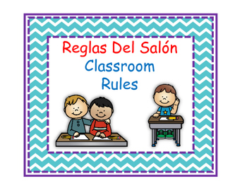 Bilingual Classroom Rules - Chevron Theme (Blue)