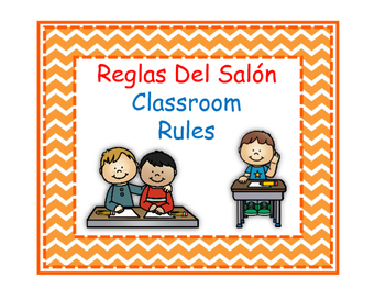 Bilingual Classroom Rules - Chevron Theme (Orange)
