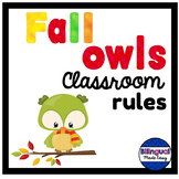 Bilingual Classroom Rules in English & Spanish- Fall Owls