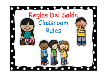 Bilingual Classroom Rules-Polka Dot (Black)