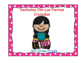 Bilingual Classroom Rules - Polka Dot Theme (Pink)