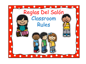 Bilingual Classroom Rules - Polka Dot Theme (Red)