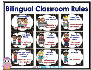 Bilingual Classroom Rules Posters English & Spanish
