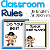 Bilingual Classroom Rules in English & Spanish - Pirate Monkeys