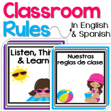 Bilingual Classroom Rules Posters in English & Spanish - B