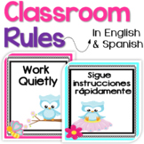 Bilingual Classroom Rules Posters in English & Spanish - s