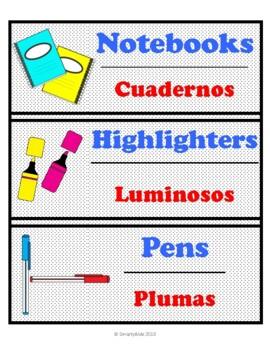 Bilingual Classroom Supply Labels