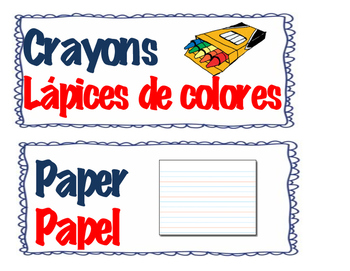 Bilingual Classroom labels (English&Spanish)