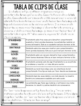Bilingual Clip Chart Letter to Parents (English & Spanish)