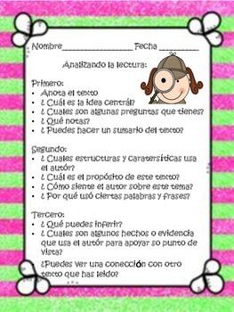 Bilingual Close Reading -CCSS Aligined Activity in Spanish
