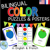 Bilingual Color Posters and Puzzles - Apple - English and French