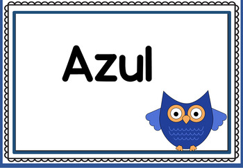 Bilingual Colors Owl Themed Posters in English and Spanish
