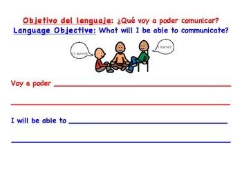 Bilingual Content & Language Objective Posters