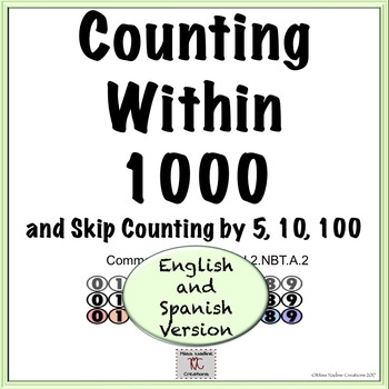Bilingual:Counting within 1000- 5 Centers - 2nd Grade 2.NBT.A.2  (BUNDLE)