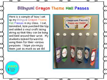 Bilingual Crayon Theme Hall Passes