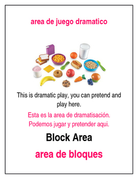 Bilingual Creative Curriculum Area Signs Preschool