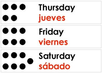 Bilingual Days of the Week Labels 5 Sets
