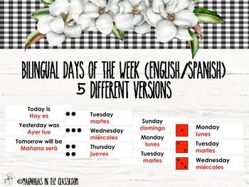 Bilingual Days of the Week (English/Spanish) 5 Sets
