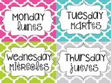 Bilingual Days of the Week Magazine Holder Labels