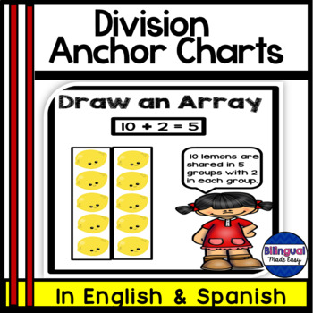 Bilingual Division Anchor Chart Posters Bulletin Board Set in English & Spanish