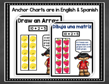 Bilingual Division Anchor Chart Posters Bulletin Board Set in English & Spanish
