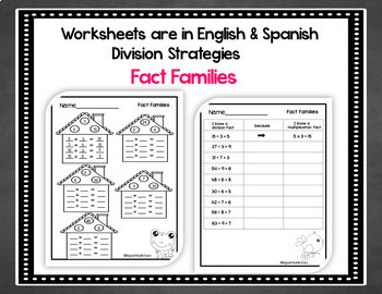 Bilingual Division Worksheets in English & Spanish
