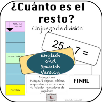 Bilingual: Division with Remainder Game for Centers (mental math) (Eng/Sp)