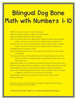 Bilingual Dog Bone Math Activities