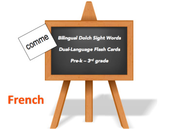 Bilingual Dolch Sight Words, French and English flash cards