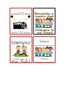 Bilingual Door Signs. Tell them where your class is when you're not there.