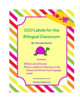 Bilingual Dual Language Color Coded Classroom Labels