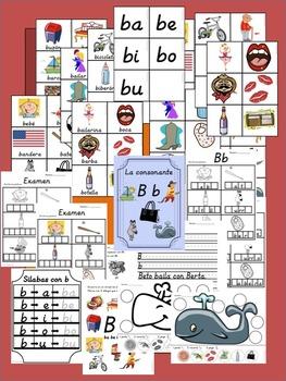 Bilingual Dual Language D'Nealian Silabas con Bb-- ba be bi bo bu