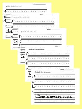 Bilingual Dual Language D'Nealian Vocales -- A, E, I, O, U