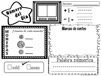 Bilingual Dual Language Kindergarten Number of the Day in English and Spanish