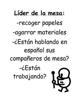 Bilingual / Dual Language Líder de la mesa / Table Leader