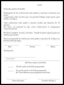 Bilingual Dual Language Parent/Teacher Conference Notification (Editable)