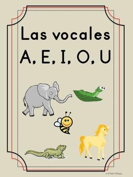 Bilingual Dual Language Print Vocales -- A, E, I, O, U