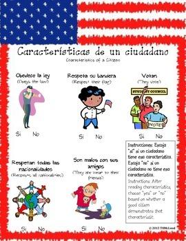 Bilingual, Dual Language, Spanish/English Elementary Citizenship Worksheet