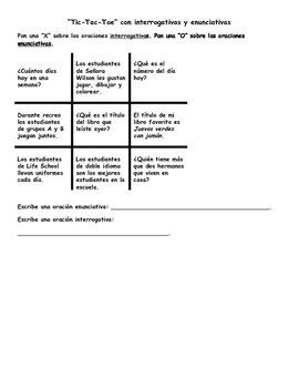 Bilingual / Dual Language Types of Sentences Half Sheets