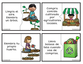 Bilingual Earth Day Puzzle Cards