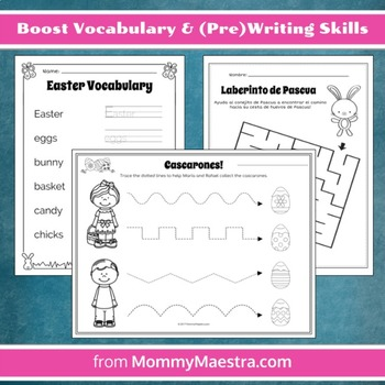 Bilingual Easter-Themed Activity Sheets for Preschool