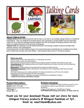 Bilingual English Alphabet Conversation Cards-Alligator