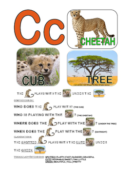 Bilingual English Alphabet Conversation Cards-Cheetah