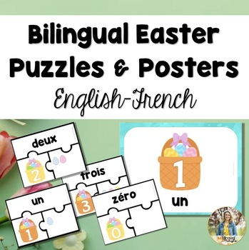 Bilingual (English-French) Spring/Easter Number Puzzles and Posters