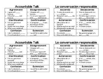 Bilingual (English/Spanish) Accountable Talk Cards
