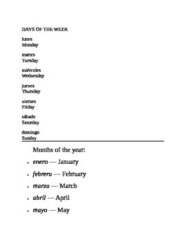 Bilingual English / Spanish- Days of week and Months of year