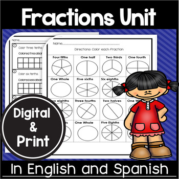 Bilingual Fractions Worksheets in English and Spanish